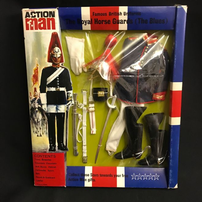 ACTION MAN - FAMOUS BRITISH UNIFORMS - THE ROYAL HORSE GUARDS (THE BLUES) - CARDED -  1st Issue
